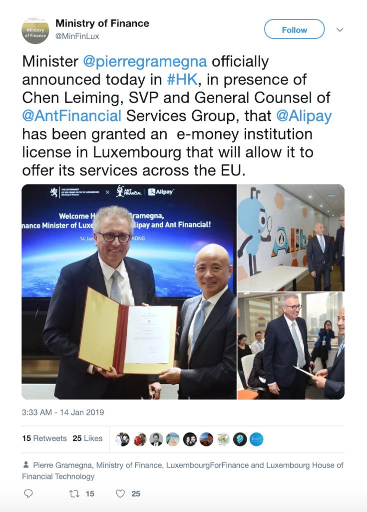 Tweet by Luxembourg Ministry of Finance, @MinFinLux, Twitter